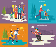 Family with kids concept flat icons set of winter Stock Photography