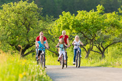 Family with kids cycling in summer with bicycles Stock Photos