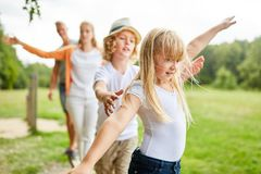 Family and kids exercise fitness stock photos