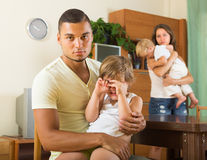 Family with kids having quarrel Royalty Free Stock Photo