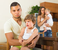 Family with kids having quarrel Stock Images