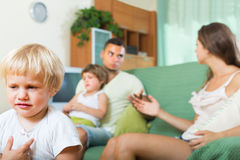 Family with kids having quarrel Stock Image