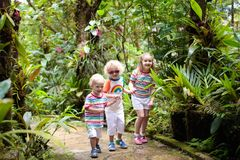 Family with kids hiking in jungle. Family hiking in jungle. Kids on a hike in tropical rainforest. Young children walk in exotic forest. Travel with child royalty free stock image