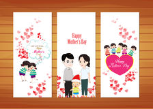 Family and kids Mother's Day Cards. Happy mother day with elements card and background for design Royalty Free Stock Photos