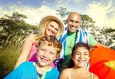 Family Kids Parents Playful Park Summer Concept Stock Photo