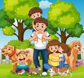Family with kids and pets in the park. Illustration Royalty Free Stock Image