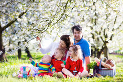 Family with kids on picnic in spring garden. Big family with three little children eating lunch outdoors. Parents and kids with picnic basket in spring garden Stock Photography