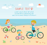 Family and kids riding bikes on beach vector illustration