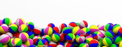 Colorful beach balls on white background, banner, copy space. 3d illustration. Family, kids summer vacation. Colorful beach balls heap on white background Royalty Free Stock Photography