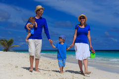 Family with kids on tropical beach Royalty Free Stock Images