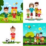 Family with Kids Vector Illustration. Set stock illustration