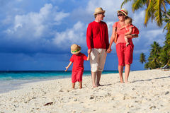 Family with kids walking on tropical beach Royalty Free Stock Photography