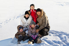 Family with kids in the winter Royalty Free Stock Photography