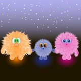 Family of kind cute fluffy clumps royalty free illustration