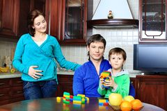 Family at a kitchen Stock Image