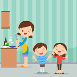 Family kitchen be happy. Happy family with mom and children cooking in kitchen vector cartoon illustration Royalty Free Stock Images