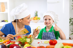 Family in kitchen Royalty Free Stock Photo
