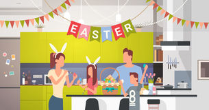 Family Kitchen Interior Celebrate Easter Holiday Decorated Colorful Eggs Greeting Card. Flat Vector Illustration Stock Photos