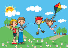 Family Kite. A family playing with a kite outdoors stock illustration