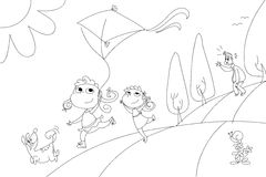 Family with kite coloring illustration Royalty Free Stock Images