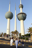 Family in kuwait near water tank Royalty Free Stock Photography