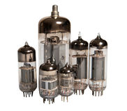 Family of lamps. Old technology on the example of the family of lamps (lamps-triodes Stock Photos