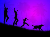 Family landscape. Happy family with dog, running on the grass in the night