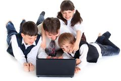 Family on laptop stock photos