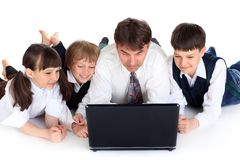 Family at Laptop Stock Image