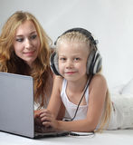 Family laptop royalty free stock images