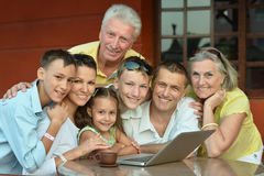 Family  with laptop Stock Photos