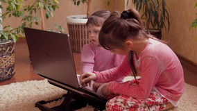 Family with laptop. stock video