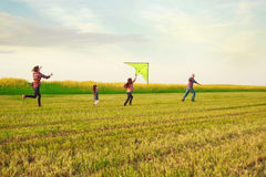 Family launches a kite. In the field Royalty Free Stock Photography