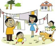 Family laundry cartoon. Cartoon showing happy African American family hanging out washing Stock Photos