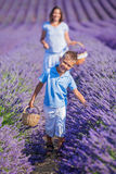 Family in lavender summer field Stock Photography
