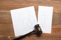 Family law concept. Divorce section of the property by legal means.  royalty free stock photos