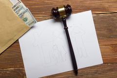 Family law concept. Divorce section of the property by legal means.  royalty free stock image