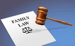 Family Law Concept With A Gavel. Family Law Protection Regulation Concept With A Gavel royalty free stock image