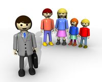 Family and lawyer. 3d render family and lawyer or business man represented by toys Stock Photo