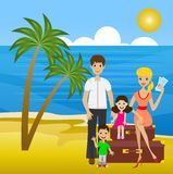 Family on  leave sit on suitcases ashore sea Royalty Free Stock Photos
