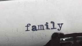 Family legend - Typed on an old vintage typewriter. Close-up stock video