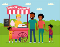 Family leisure. African family in the amusement Park. Family buys cotton candy. Stock Images