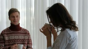 Family leisure communication couple drink tea. Family   home leisure. communication couple relationship. man and woman drinking tea stock video