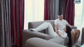 Family leisure couple love cuddle affection trust. Family leisure. couple love cuddle affection. marriage relationship happiness trust care support. husband stock video footage