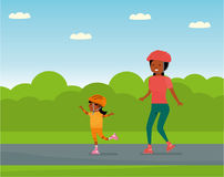 Family leisure. Family in the amusement Park. Family - mother and daughter roller skating. African American people. Vector illustration in a flat cartoon style Royalty Free Stock Photography