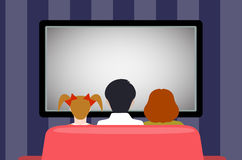 Family leisure, people behind viewing of the TV, flat style. Royalty Free Stock Photos