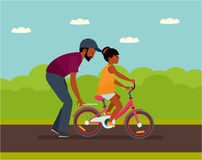 Family leisure. Summer time. African American people.. Father walking with daughter in Park, father helping daughter to ride a bike. Vector illustration in a Royalty Free Stock Photography