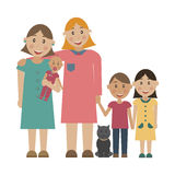 A family of 2 lesbians adopt children. Stock Photo