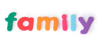 Family, letters for child, english word isolated Stock Image
