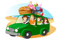 Family   leving for the  holidays with a van. Family riding a van leaving for vacation Stock Image